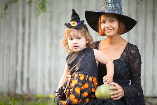 Helping toddlers with a not so scary Halloween by dressing up alongside them.