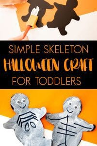 Halloween Craft for Toddlers to create some easy skeletons which you can then use to decorate with or in learning activities.