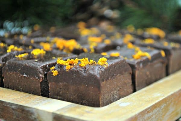 Close up of homemade chocolate and orange fudge that is so easy to make
