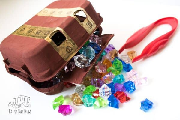 diy gem sorting into pirate treasure box game for preschoolers