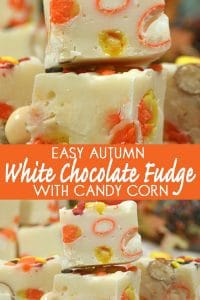 Easy Autumn White Chocolate Fudge with Candy Corn and Pumpkin Pie M&Ms that can be made either in a saucepan or in the slow cooker.