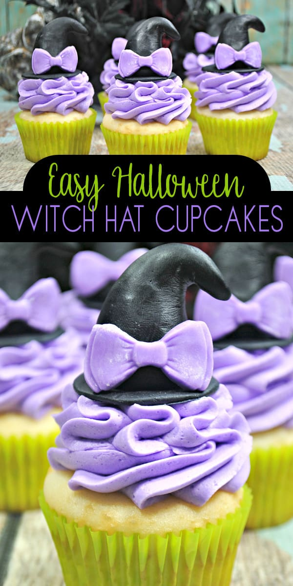 Easy cake decorating to create some witch themed cupcakes with hats on for Halloween. The perfect none spooky pretty cupcakes for parties and treats.