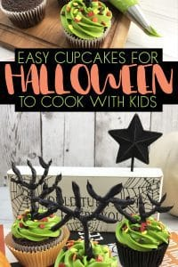 Halloween Haunted Tree Cupcakes to Decorate with Kids with basic chocolate cupcake recipe and easy to make buttercream.
