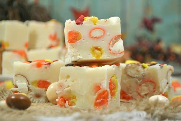 Simple white chocolate fudge recipe with candy corns that can be made in a pan or the slow cooker