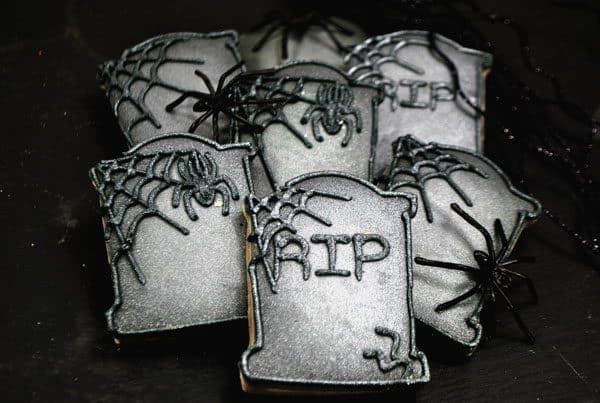 Fun Halloween Cookies to make in the shape of Tombstones with full tutorial on getting them decorated with Royal Icing