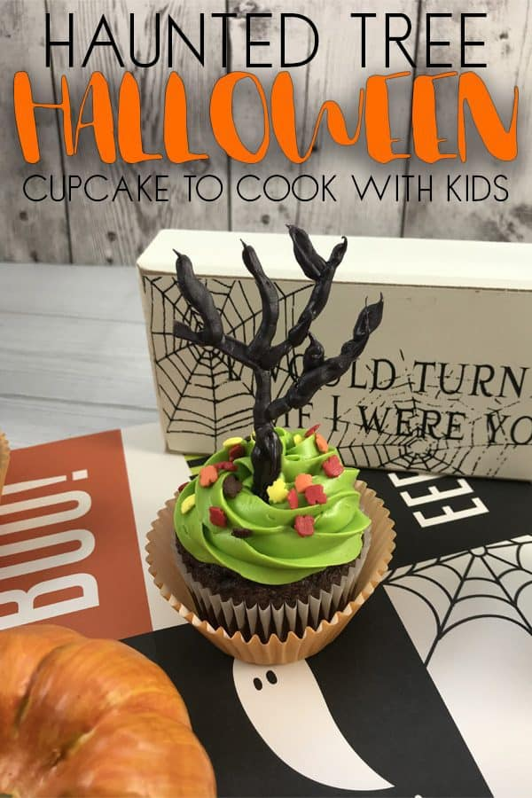 Easy Haunted Tree Halloween Cupcakes