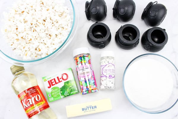 ingredients for making simple halloween popcorn treats with kids