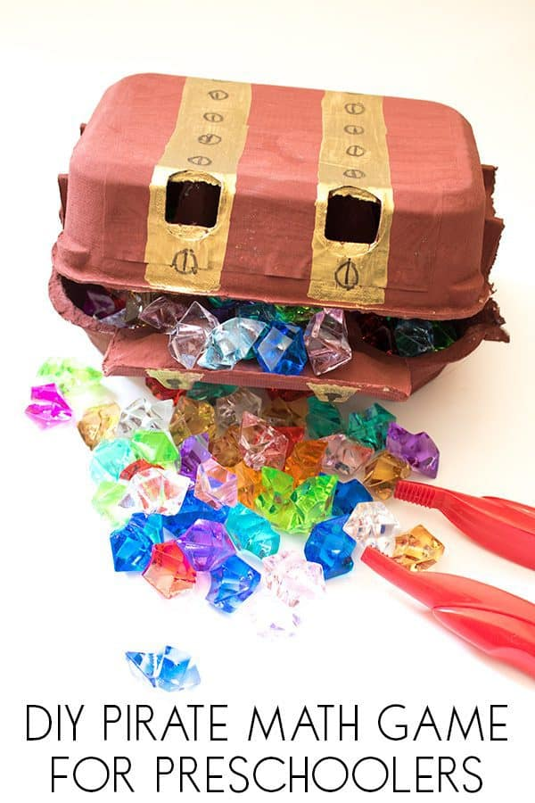 DIY treasure chest used in a preschool math game for counting and sorting