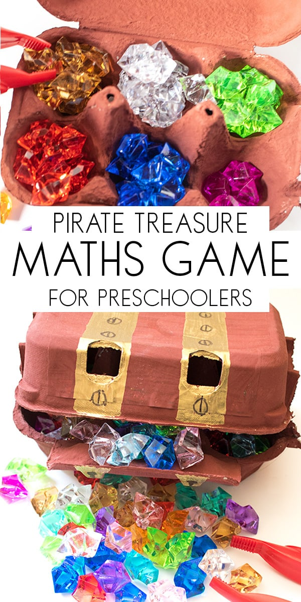 Create your own Pirate Maths Game for counting and sorting ideal for preschoolers. Make a treasure chest and the sort and count the pirates treasure.