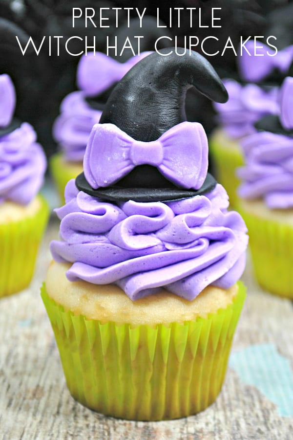 Pretty Little Halloween Witch Hat Cupcakes