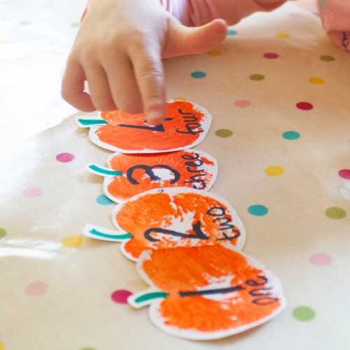 DIY Pumpkin Number Lines for Number Recognition and Counting activities for Preschoolers