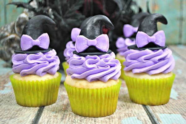 Set of 3 easy to make witch's hat cupcakes for a not so spooky halloween party treat