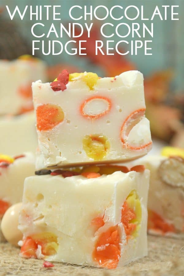 Simple white chocolate fudge recipe with condensed milk that is easily adapted for making in the slow cooker. Add some candy corn and pumpkin M&Ms for autumn flavours.