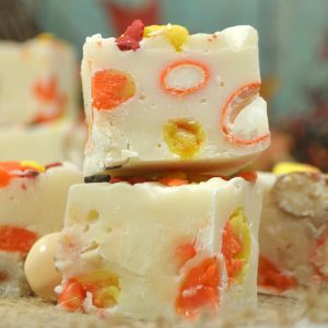 white chocolate fudge with candy corn simple recipe for the pan or slow cooker