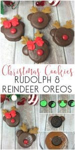Christmas Cookies to Make for Kids to enjoy or your Christmas Cookie Exchange. Use Oreos to create these cute Rudolph and Reindeer Cookies.