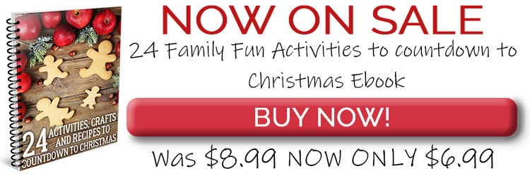 Countdown to Christmas with the Kids Ebook of 24 Activities, Crafts and Recipes to do together. End of November Sale now only $6.99 normally $8.99