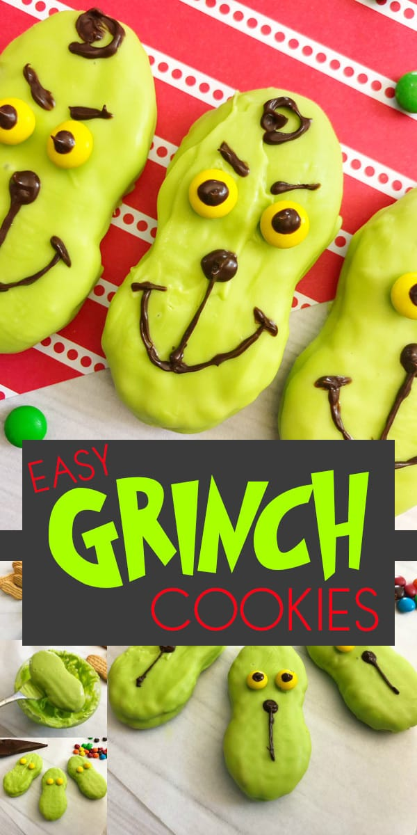 Easy Grinch Themed Cookies for Kids to Decorate. Perfect for Christmas cookies that they will enjoy.