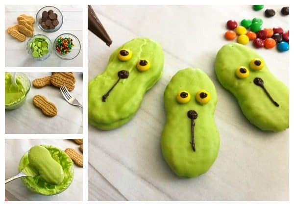 Step by Step photos on making Grinch Cookies with Kids