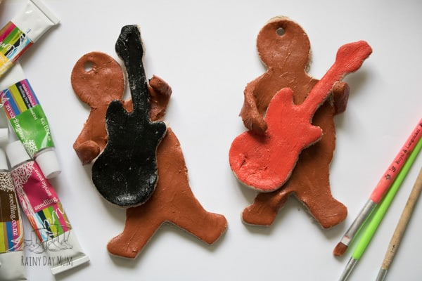 Easy Christmas Craft for Kids to create some rockin gingerbread ornaments for the tree out of salt dough then hand painted