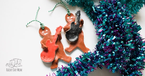 Fun Christmas Decorations for Kids to Make inspired by Nativity Rocks! Rockin' Gingerbread Men Salt Dough Decorations for the Christmas Tree