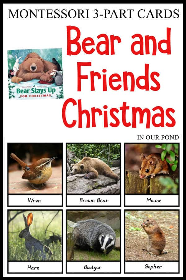 bear and friends 3 part cards to use with the book Bear Stays Up Late for Christmas by Karma Wilson