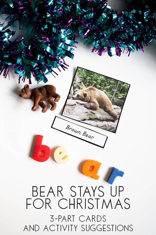 Bear Stays Up Late for Christmas 3 Part Montessori Cards