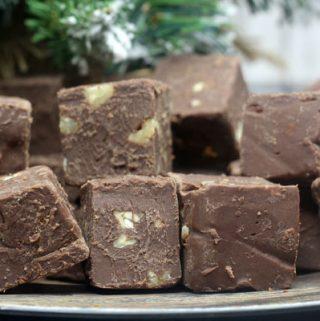 close up of Baileys Irish Cream Fudge with chopped pecans