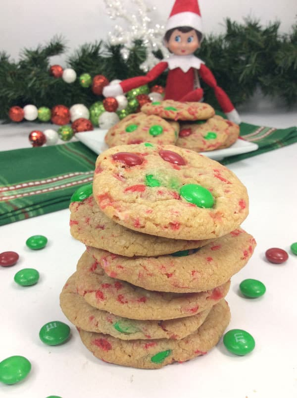 Cookies for kids to make at Christmas with Sprinkles and M&Ms perfect for Elf on the Shelf to Leave the ingredients or bring as a treat