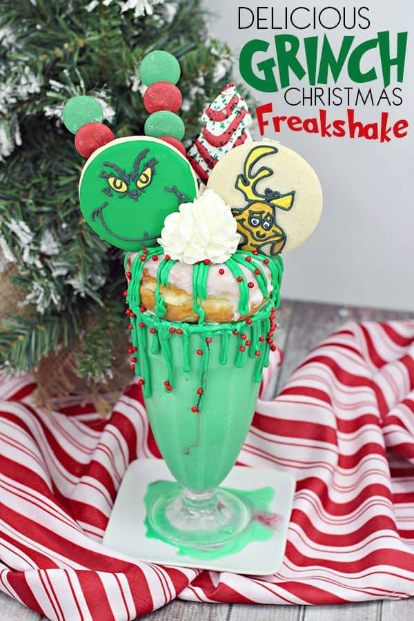 Delicious Grinch Inspired Christmas Freakshake complete with Recipe