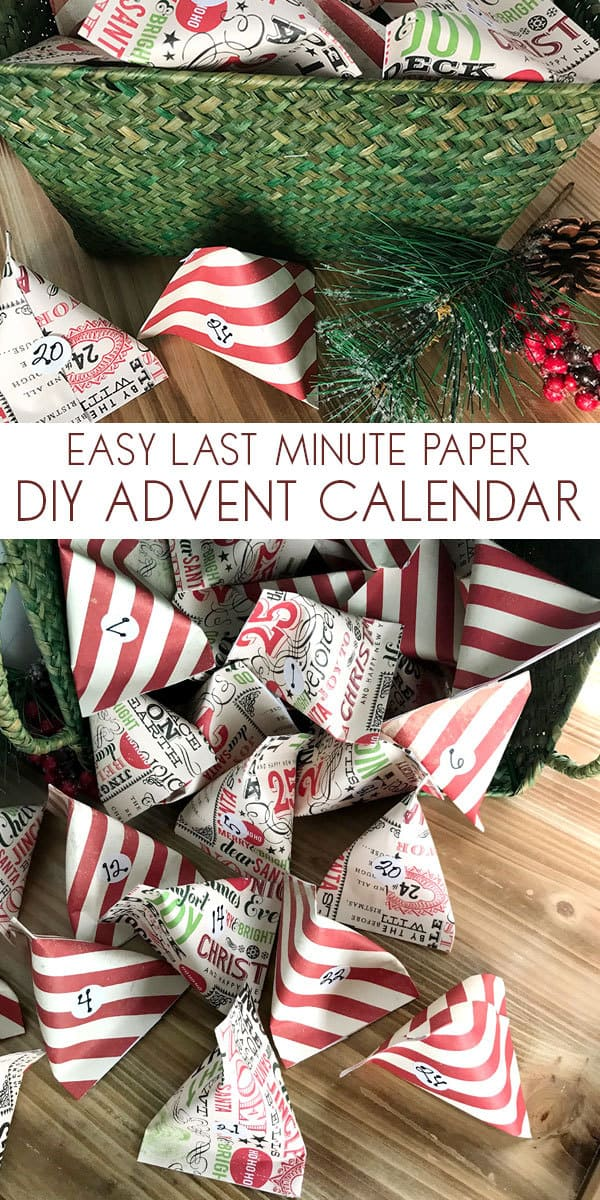 Easy last minute Advent Calendar Project that you can make in an evening. Fill these scrapbook paper pockets with treats, toys or advent activities and countdown to Christmas with your kids.