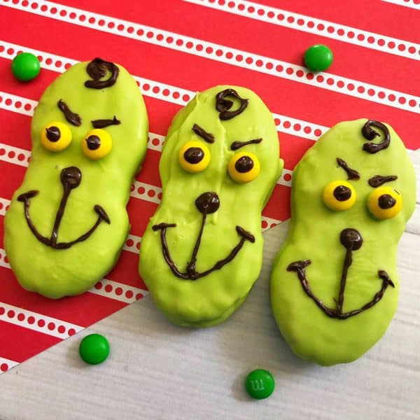 How the Grinch Stole Christmas Nutter Butter Cookies 3 in a row for kids to decorate
