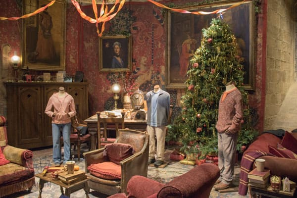 gryffindor common room ready for christmas at hogwarts in the snow