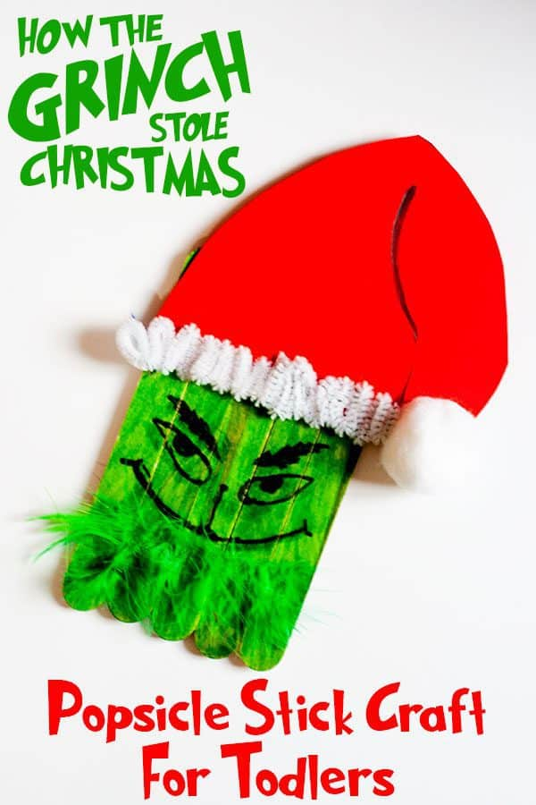 Easy Grinch Popsicle Stick Christmas Craft for Toddlers