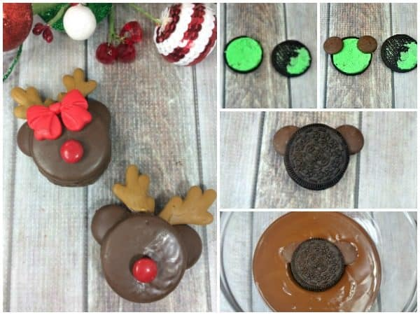 making reindeer oreo cookies