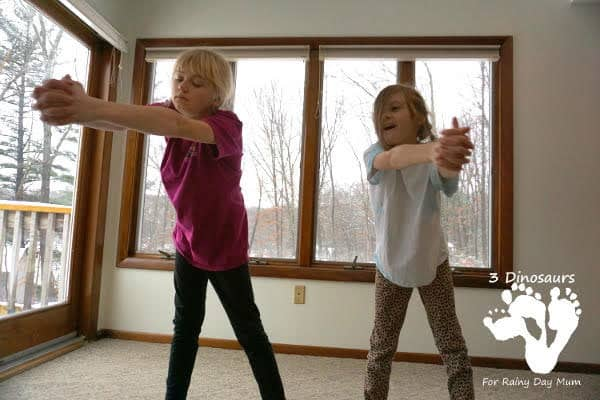 Stirring movement stretching activities for indoor winter fun with kids inspired by Bear Stays Up for Christmas