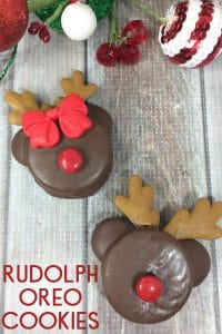 Rudolph and Reindeer Oreo Cookies to Make for Kids. A simple party cookie that they will LOVE!
