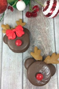 Simple to make Reindeer and Rudolph Oreo Cookies ideal for Christmas Parties and Cookie Exchanges
