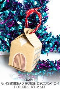 Simple Gingerbread House Decorations for Kids to Make with a free printable template to create the ornament to hang on the tree.