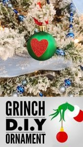 """Simple and quick Christmas craft for toddlers inspired by The Grinch to create simple bauble ornaments with the """"Grinch Heart"""" on for the Christmas Tree."""