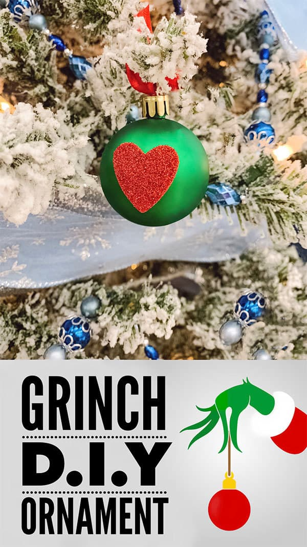 "Simple and quick Christmas craft for toddlers inspired by The Grinch to create simple bauble ornaments with the ""Grinch Heart"" on for the Christmas Tree."