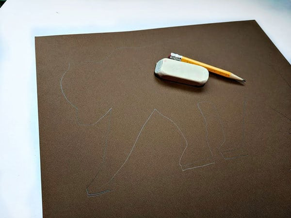 Step 1 - draw an outline of a bear on cardstock or cardboard