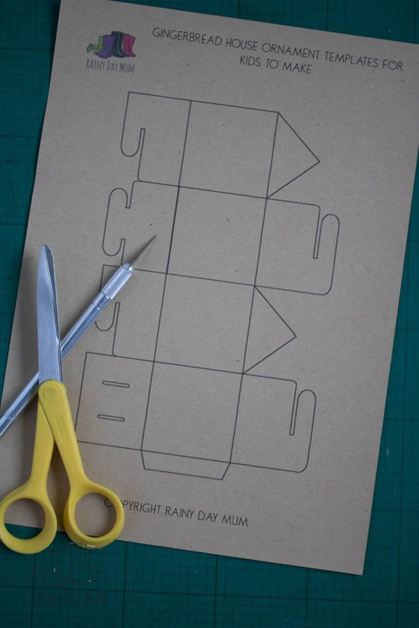 template for gingerbread house ornament