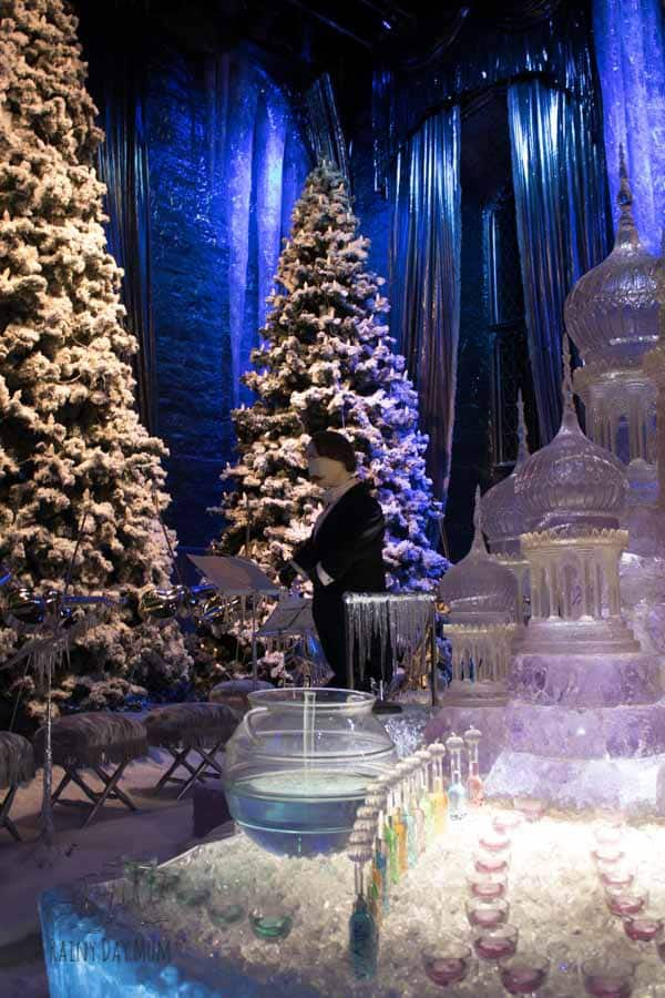 yule tide ball set at warner bros studio tour london for hogwarts in the snow