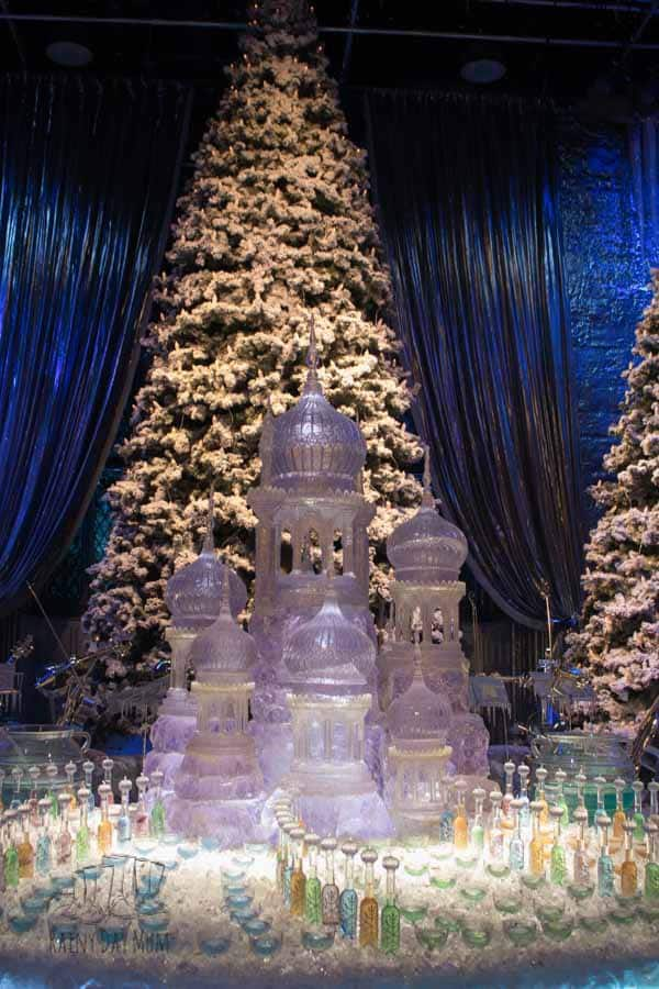 yuletide ball set piece at hogwarts in the snow