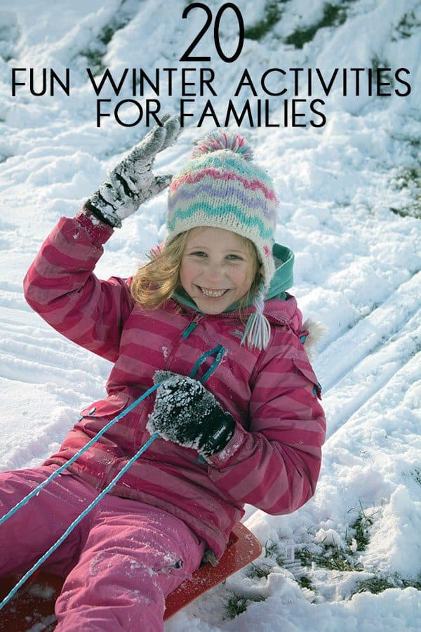 girl sledging one of the 20 fun indoor and outdoor winter activities on our Family Bucket List