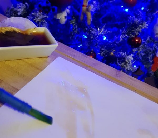 staining paper with a tea bag for old looking santa letters