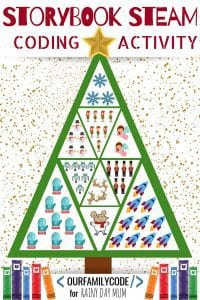 Christmas Tree Coding activity for Preschoolers away from the computer. Code the decorations along with Merry Christmas Mouse!