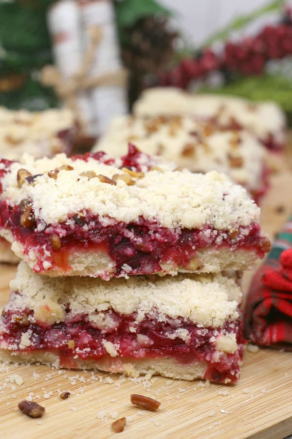 Cranberry Crumble Bars a delicious Christmas treat and alternative to Mince Pies to share with friends and family