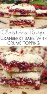 Delicious Christmas Recipe to create Cranberry filled Cake Bars with a Crumble Topping. A great Christmas dessert or cake especially for those that don't like Mince Pies