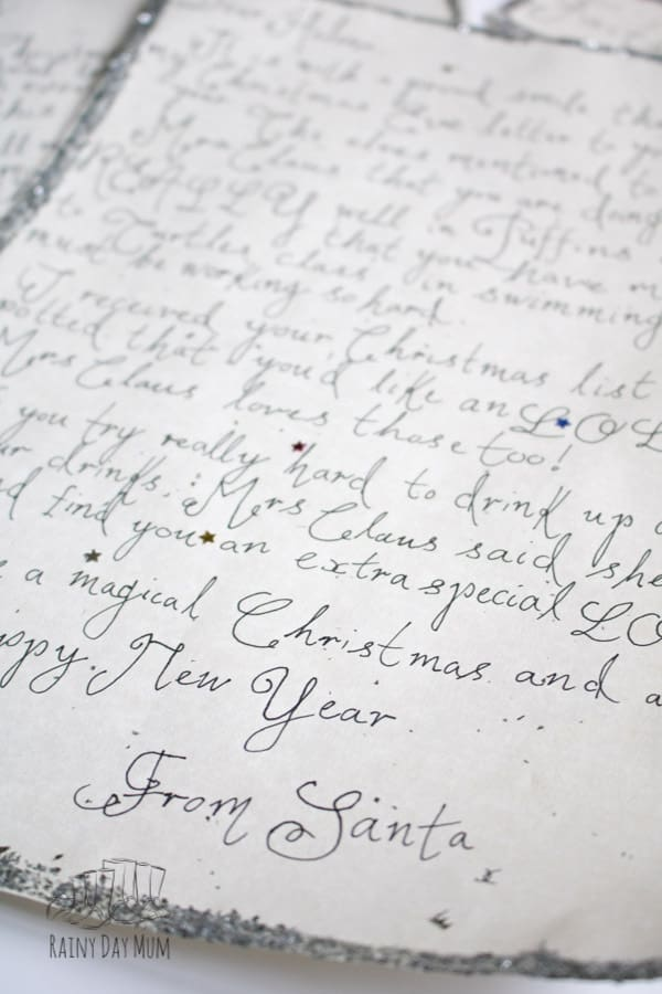 Personalised letter from Santa on Parchment Paper that you can make yourself